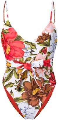 Mara Hoffman bow detail floral print swimsuit