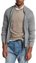 Brunello Cucinelli Full-Zip Linen-Cotton Sweater, Medium Gray