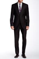 HUGO BOSS Black Mini Grid Two Button Notch Lapel Wool Suit