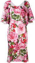 Dolce & Gabbana rose print dress - women - Silk/Spandex/Elastane - 48
