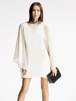 Halston Chiffon Overlay Ponte Dress