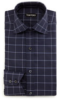 Tom Ford Large-Check Dress Shirt, Navy