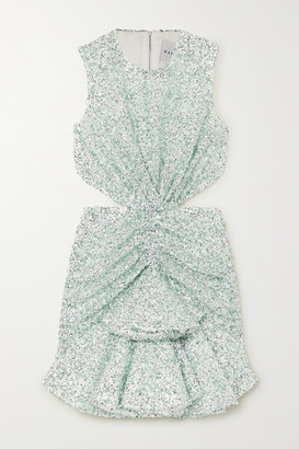 Halpern Cutout Sequined Lace Mini Dress - Green