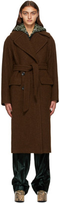 Dries Van Noten Brown Wool Oversized Coat