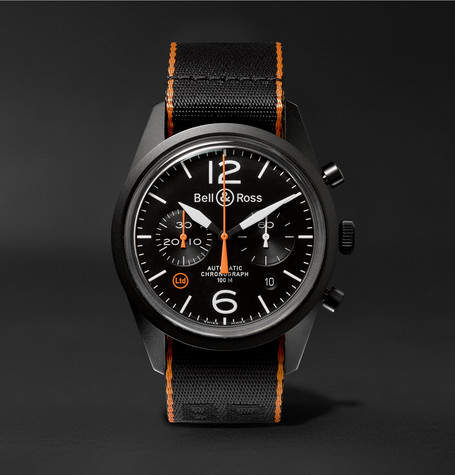 Bell & Ross Br 126 41mm Steel And Nato Canvas Chronograph Watch