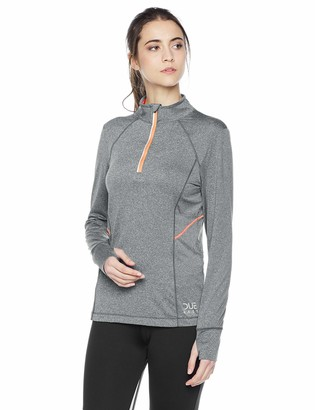 Equipment Due East Apparel Women's Long Sleeve Quick Dry Exercise Running Yoga Workout Quarter Zip Top Gray Small