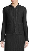 St. John Adina Knit Blazer Jacket with Chain Braid Trim