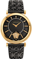 Versace VQG040015 V-Helix leather and gold-toned watch