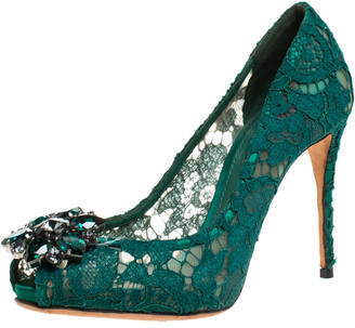 Dolce & Gabbana Green Lace Crystal Embellished Peep Toe Pumps Size 37