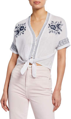 Rails Thea Floral Embroidered Tie-Front Top