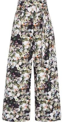 ADAM by Adam Lippes Belted Floral-print Cotton-poplin Wide-leg Pants