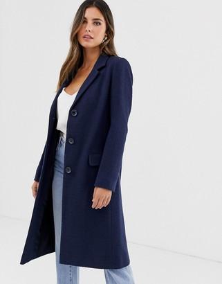 Helene Berman College coat with mock tortoiseshell buttons-Navy