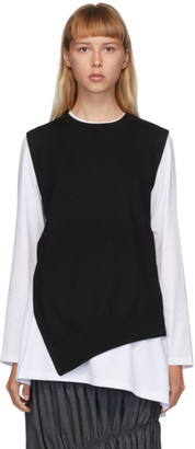 Enfold White and Black Knit Layered Long Sleeve T-Shirt