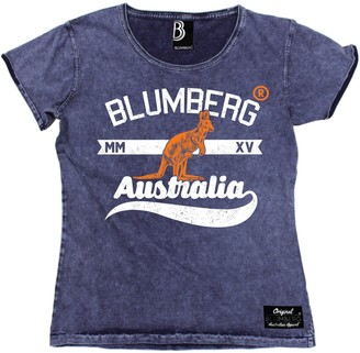 Blumberg Australia Women's Kangaroo (S - RAW Blue) Denim T-Shirt Novelty Funny Clothing Womens Slogan tees Ladies t Shirts Tshirt Quotes