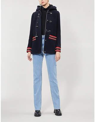 Sandro Faust stripe-trimmed wool-blend coat