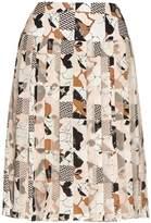 Oscar de la Renta Graphic-print pleated skirt