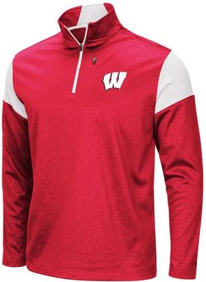 Colosseum Men's Red Wisconsin Badgers Big & Tall Luge Fleece Quarter-Zip Pullover Jacket