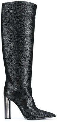 Casadei Glitter Pointed Toe Knee-High Boots