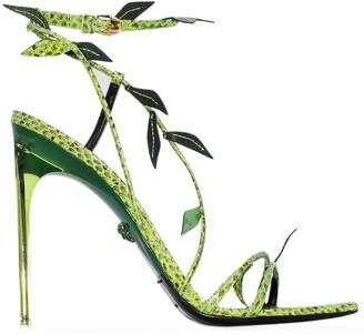Versace 110mm Snakeskin-Effect Leaf Stiletto Sandals