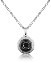 Forzieri Stainless Steel Compass Pendant Necklace