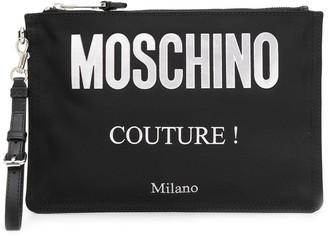 Moschino Logo Printed Clutch Bag
