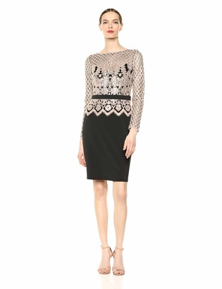 Tadashi Shoji Women's L/S Dress W/Neoprene SKRT and Sequin LACE Bodice