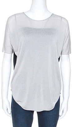 Armani Collezioni Grey Knit Contrast Back Detail Short Sleeve Top S