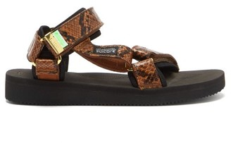 Suicoke Depa-v2 Snake-effect Velcro-strap Sandals - Brown