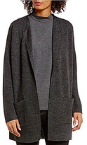Eileen Fisher Stand Collar Sleek Tencel Merino Blur Cardigan
