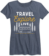Instant Message Women's Women's Tee Shirts HEATHER - Heather Blue 'Travel Explore Live' Relaxed-Fit Tee - Women