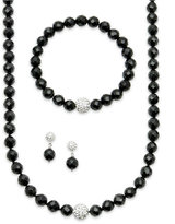 Macy's Sterling Silver Necklace, Bracelet and Earrings Set, Faceted Onyx (250 ct. t.w.) and Crystal (2 ct. t.w.) Necklace, Bracelet and Earrings