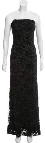 Carmen Marc Valvo Strapless Embellished Evening dress