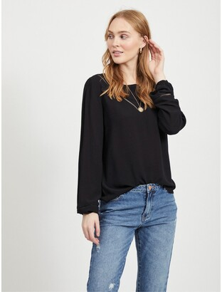 Vila Round-Neck Blouse with Embroidered Details