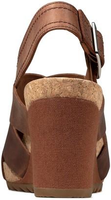 Clarks Flex Sand Leather Wedge Sandal - Tan