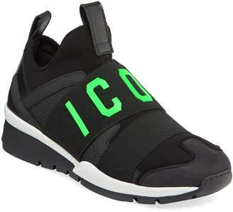 DSQUARED2 Men's Icon Neoprene & Leather Trainer Sneakers