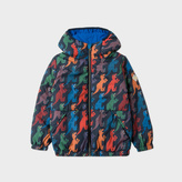 Paul Smith Boys' 7+ Years Navy 'Dino' Print Packable Hooded Jacket