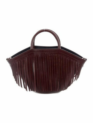 Trademark 2019 Leather Fringe-Trimmed Bucket Bag gold