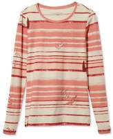 L.L. Bean Signature Cotton/Modal Crewneck Shirt, Long-Sleeve Bird Print