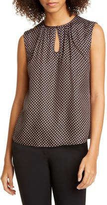 Tailored by Rebecca Taylor Deco Dot Sleeveless Silk Blend Blouse