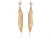 Luis Morais X Large Long Enameled 10K Yellow Gold Feather Diamond Baguette Earring