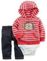 Carter's 3-Piece Monkey Little Jacket, Bodysuit, and Pant Set in Red/White