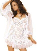 TRURENDI Womens Lace Satin Sexy Lingerie Night Gown Babydoll Dress Underwear G-string (XL, )