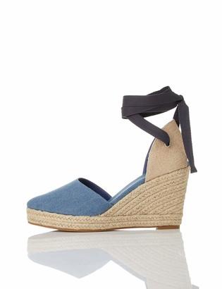 Find. Women's Closed Toe Espadrille Wedge Sandal Blue Denim US 8