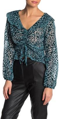 KENDALL + KYLIE Velvet Leopard Print Ruched Top
