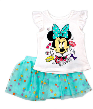 Children's Apparel Network Girls' Casual Skirts OFFWH - Aqua & White Minnie Mouse Star Smile Skirt & Flutter-Sleeve Tee - Toddler