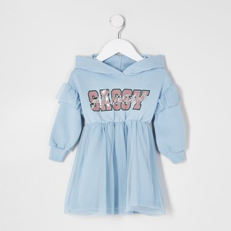 River Island Mini girls Blue tulle skirt sweat dress