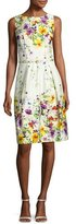 David Meister Sleeveless Belted Floral Stretch Poplin Dress, White/Multicolor