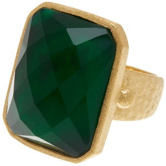 Rivka Friedman 18K Gold Clad Faceted Emerald Crystal Doublet Rectangle Hammered Satin Ring
