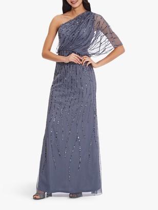 Adrianna Papell Plus Beaded Long Dress, Dusty Blue