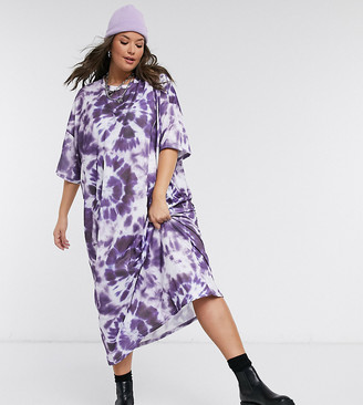 New Girl Order Curve oversized midi T-shirt dress with gothic graphic in tie dye